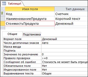 Правило проверки поля в конструкторе таблиц Access