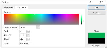 Отображает пользовательские цвета