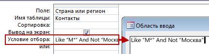 Изображение конструктора запросов с условиями NOT и AND NOT, а также текстом, который нужно исключить из поиска