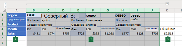 Структура столбцов в Excel Online