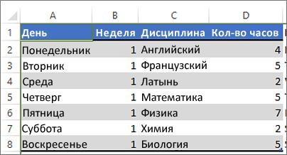 Таблица с выбранным цветом заливки для чередующихся строк