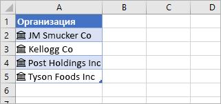 Ячейки, преобразованные в связанные записи, со значками акций