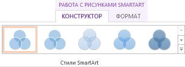 """Группа """"Стили SmartArt"""" на вкладке """"Конструктор"""" в разделе """"Работа с рисунками SmartArt"""""""