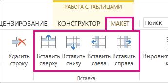"""Команды на вкладке """"Макет"""" для добавления строк и столбцов в таблицах"""