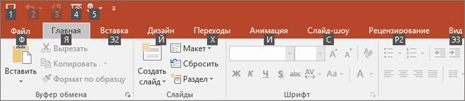 подсказки клавиш на ленте в PowerPoint