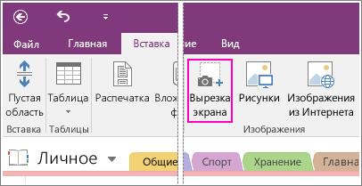 Снимок экрана с кнопкой вставки вырезки экрана в OneNote2016