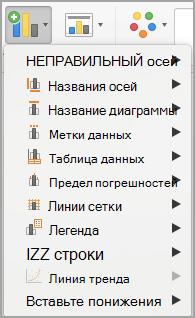 Добавить элемент диаграммы меню