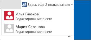 Раскрывающееся диалоговое окно, в котором показано, кто редактирует документ