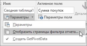 """Параметр """"Отобразить страницы фильтра отчета"""""""