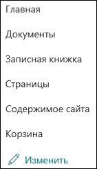 Левое меню SharePoint