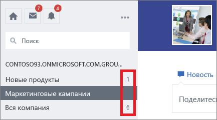 Список групп с количеством оповещений