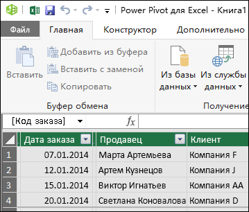 Представление таблицы в Power Pivot