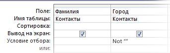 Конструктор запросов с условием для выбора элементов с заполненным полем страны