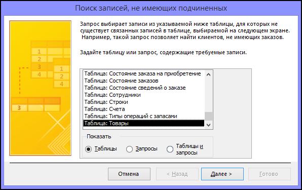 Выберите таблицу или запрос в диалоговом окне мастера поиска записей без подчиненных