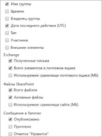 Отчета о группах Office365 — выбор столбцов