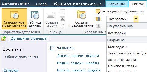 Представления списка SharePoint Designer