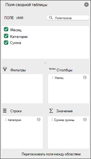 Пример списка полей сводной таблицы