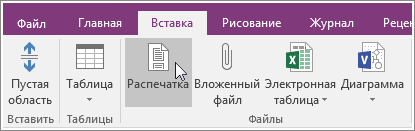"Снимок экрана, на котором показана кнопка ""Распечатка"" в OneNote 2016."
