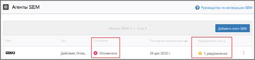 Проверьте состояние агента SIEM: отключен или ошибка подключения.