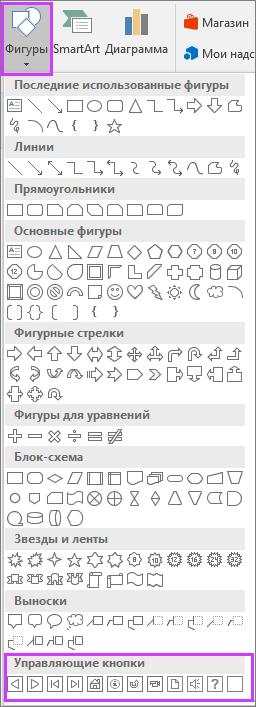 """Меню """"Фигуры"""" на ленте PowerPoint с выделенными управляющими кнопками"""