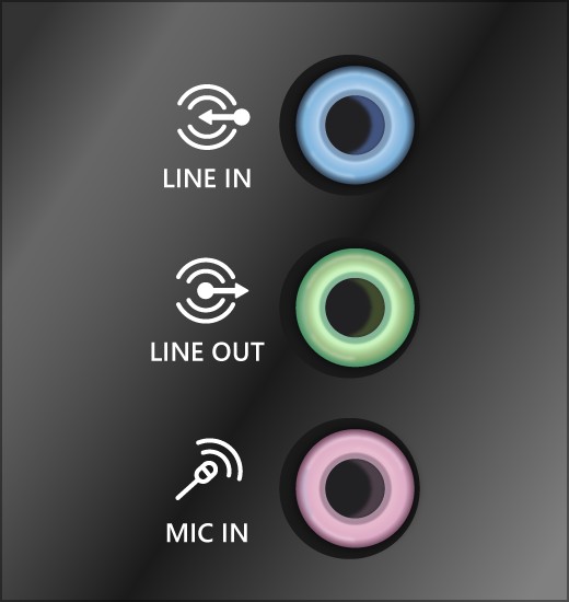Зеленый вывод и розовые входные разъемы звуковых устройств