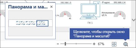 """Окно """"Панорама и масштаб"""" и схема Visio на заднем плане"""