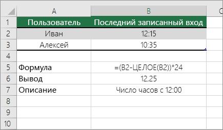 Пример: преобразование значения часов из стандартного формата времени в десятичное число