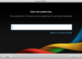 Страница ввода ключа продукта для установки Office для Mac