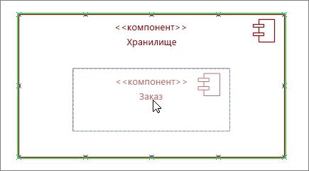 "Фигура подсистемы ""Магазин"", на которую перетащена фигура компонента ""Заказ"""
