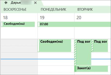 Вид календаря для пользователя, которому вы предоставили общий доступ.