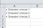 Маркированный список в ячейке