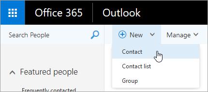 """Снимок экрана: контекстное меню кнопки """"Создать"""" с выбранным пунктом """"Контакт""""."""