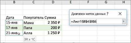 Диалоговое окно диапазон подписей данных