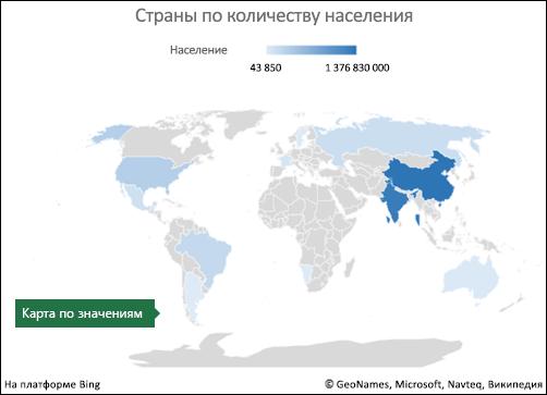Диаграмма Excel с картой с данными значений