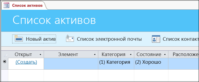 """Форма """"Список активов"""" в шаблоне базы данных активов в Access"""