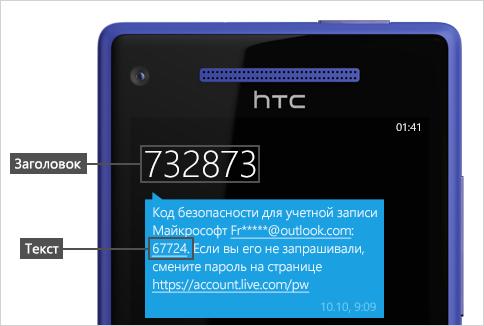 Текстовое сообщение с кодом.