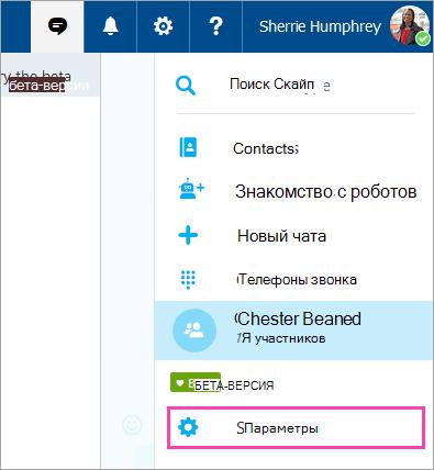 """Снимок экрана: кнопка """"Параметры"""" в меню Скайп"""