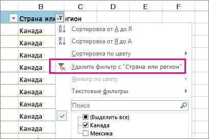"""Кнопка """"Удалить фильтр с"""""""
