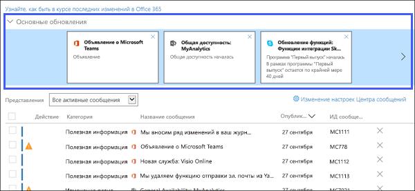Снимки экрана: отображение основной обновляет раздел Центр сообщения.