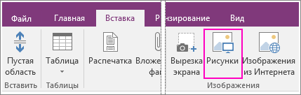 """Снимок экрана, на котором показана кнопка """"Рисунки"""" на вкладке """"Вставка"""" в OneNote2016."""