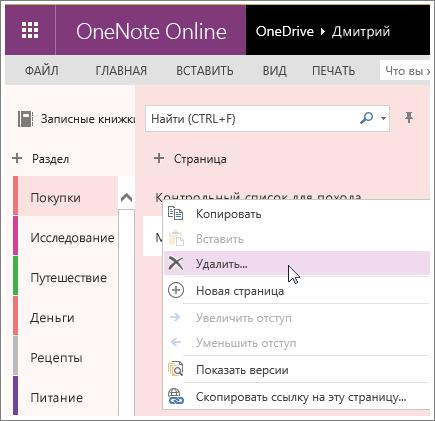 Снимок экрана: удаление страницы в OneNote Online.