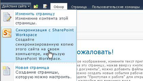 Выберите этот параметр, чтобы синхронизировать сайт SharePoint с компьютером