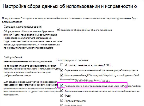 Параметр для включения журналов использования DLP