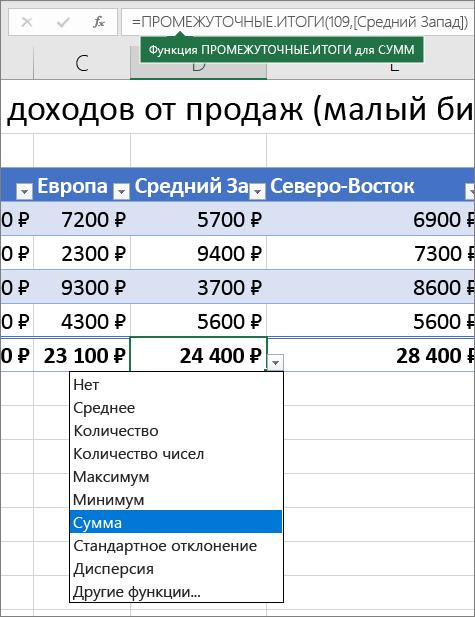 Пример выбора формулы для строки итогов в раскрывающемся списке