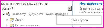 Снимок экрана области навигации в средстве управления банками терминов, в которой выбран элемент меню ''Новая группа''