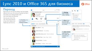 Эскиз руководства по переключению между Lync 2010 и Office 365