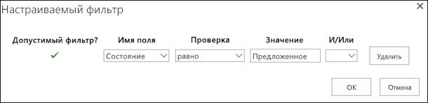 Настройка фильтра для отображения запросов предложенных ресурсов