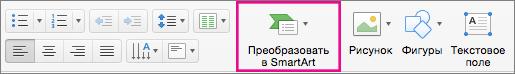 """Команда """"Преобразовать в SmartArt"""" в PowerPoint для Mac"""