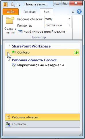 Рабочая область SharePoint на панели запуска