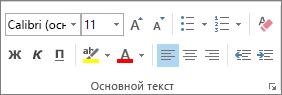 """Параметры в группе """"Основной текст"""""""